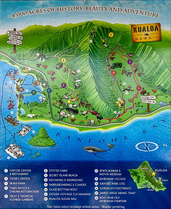 Map of Kualoa Ranch